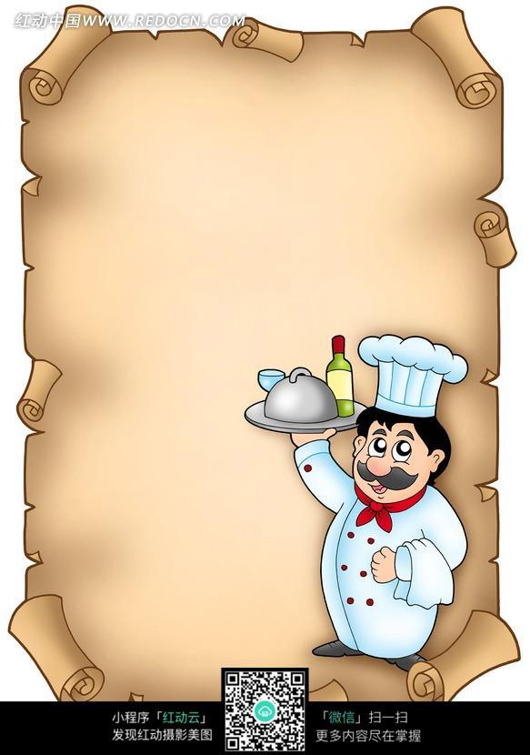 举盘子的卡通厨师和旧纸背景图片
