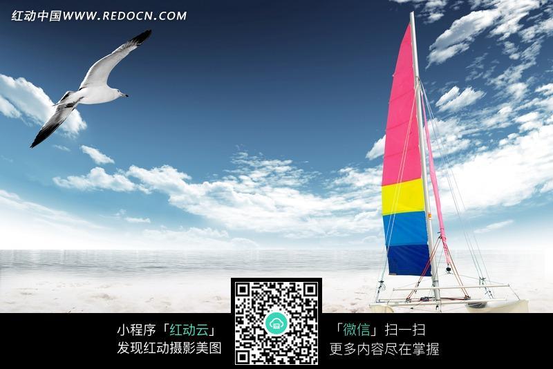 海边沙滩上的彩色帆船图片