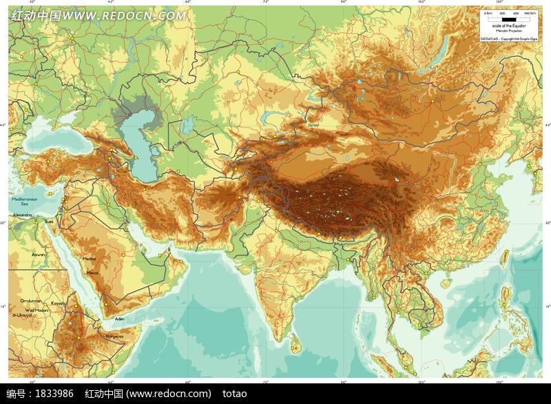 精细地质的亚欧大陆地图图片