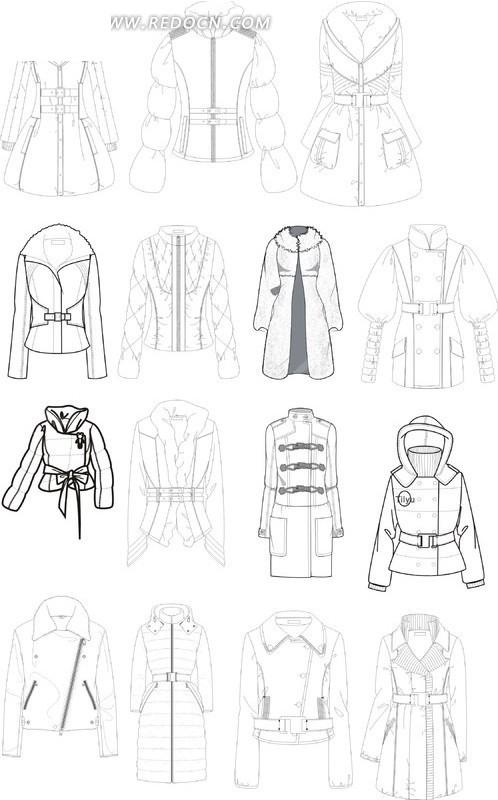 款式图 棉衣 设计 线条稿 生活用品 生活百科 矢量素材