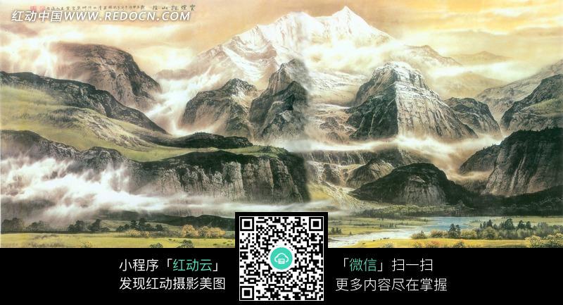 现代山水画图片
