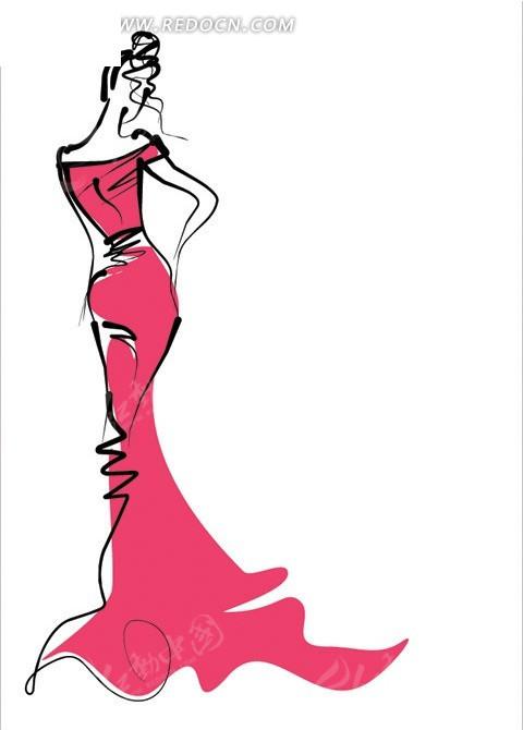穿红色长裙的苗条少女素描线稿图 美女矢量图 女人图