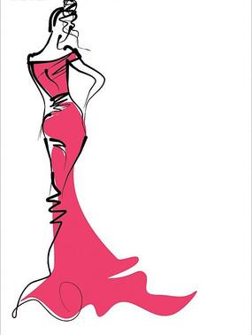 穿红色长裙的苗条少女素描线稿图