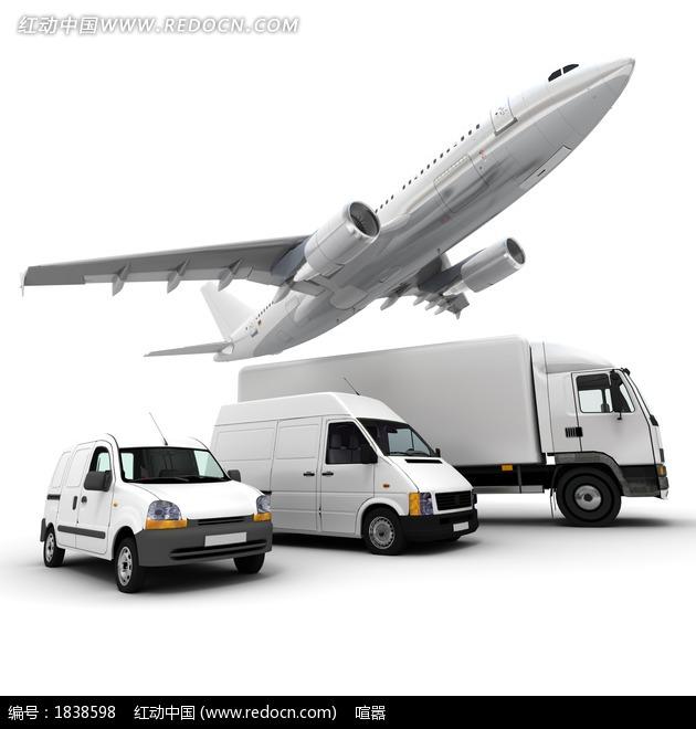白色货运卡车和货运飞机图片