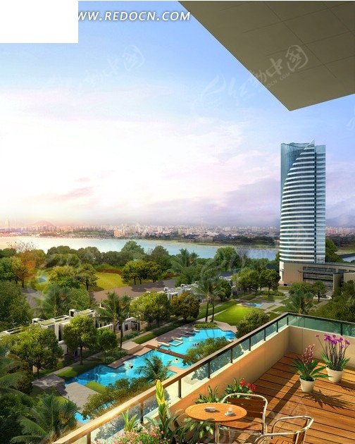 大厦地产建筑 大厦效果 房地产鸟瞰图 园林规划 水池 建筑效果图 建筑