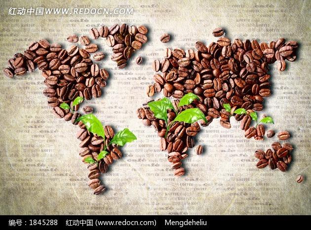 创意世界地图造型的咖啡豆图片