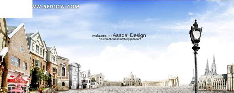 广场两边的欧式建筑海报设计psd分层素材