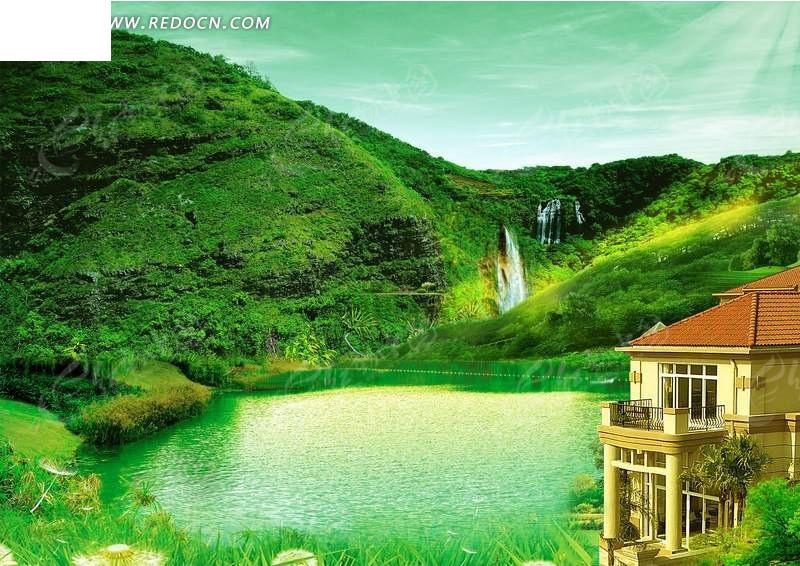 免费素材 psd素材 psd广告设计模板 海报设计 景物海报绿山湖泊的别院