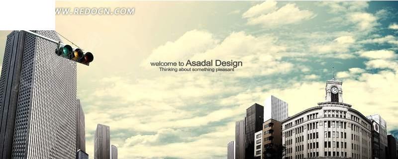 高楼大厦 建筑 楼房 欧式建筑 天空 白云 交通灯 红绿灯 海报设计 psd