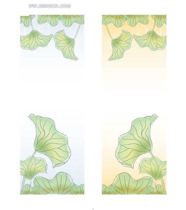 矢量素材  荷叶  古文化  矢量荷叶素材  线条画  手绘 底纹 背景素材图片