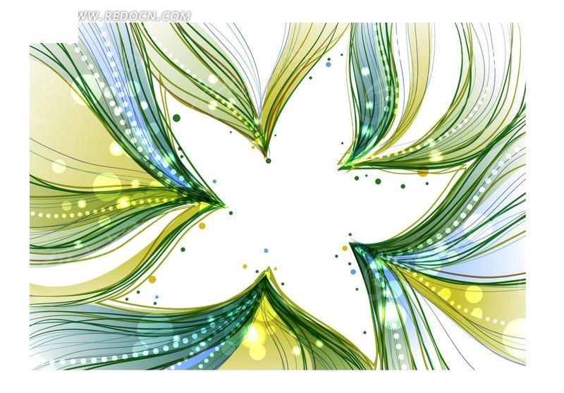 背景插画青绿色绚丽流彩的五角星边框底板图片