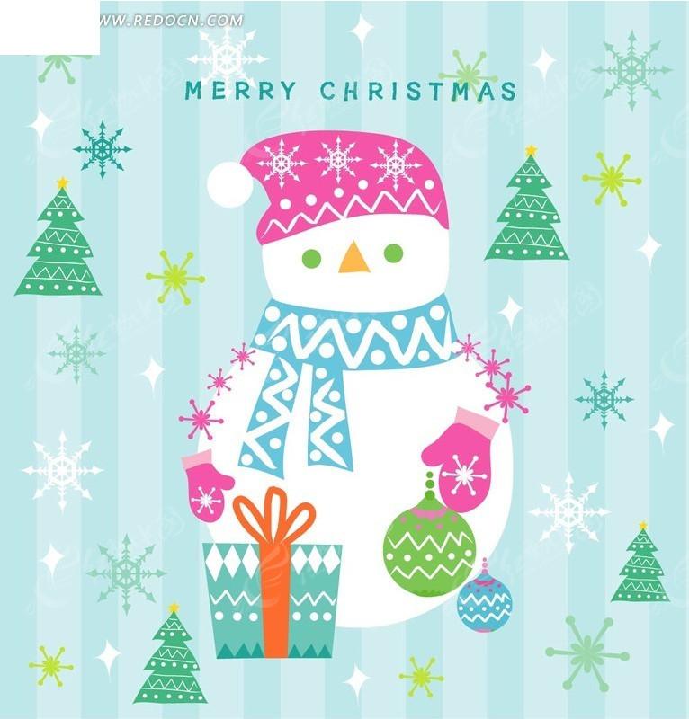 圣诞节主题雪人圣诞球圣诞树雪花