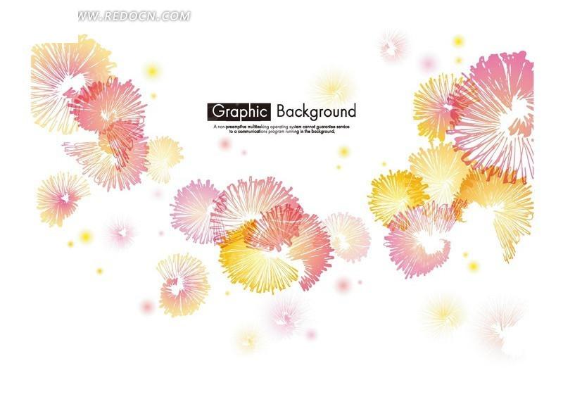 免费素材 矢量素材 花纹边框 花纹花边 梦幻彩色水彩画礼花花朵背景