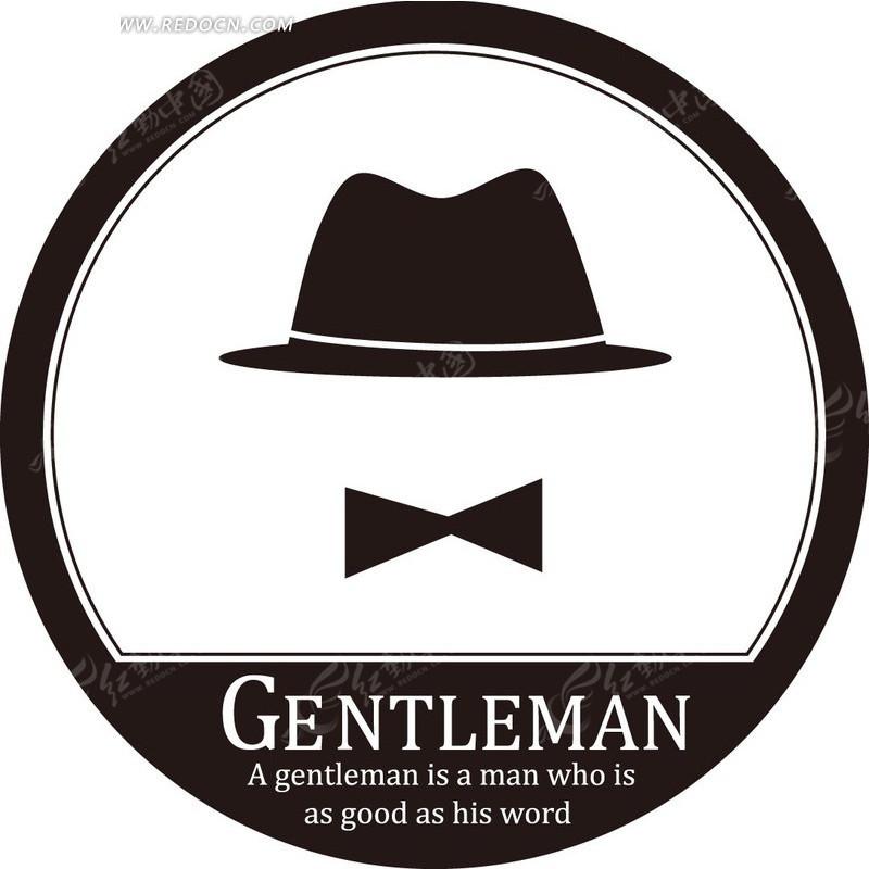 标志标签黑色礼帽和领结圆形标志gentlemaneps素材_红图片