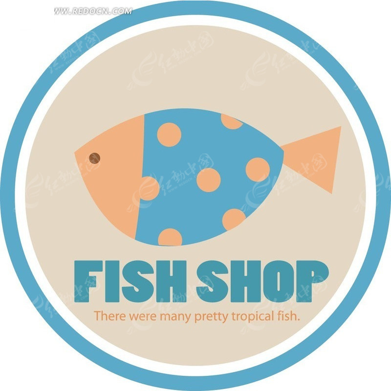 圆形波点的小鱼标志标签eps素材免费下载_红动网图片