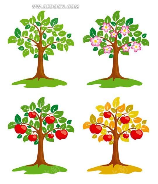 四款树木矢量素材