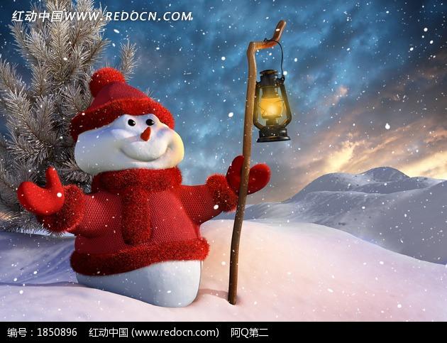 雪地上穿着红色衣服的雪人图片