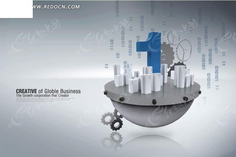 5200手机主题_城市模型和齿轮PSD素材免费下载_红动网