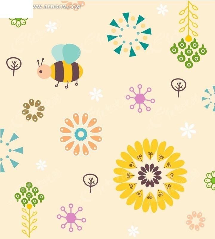 精美可爱花朵和小蜜蜂底纹背景