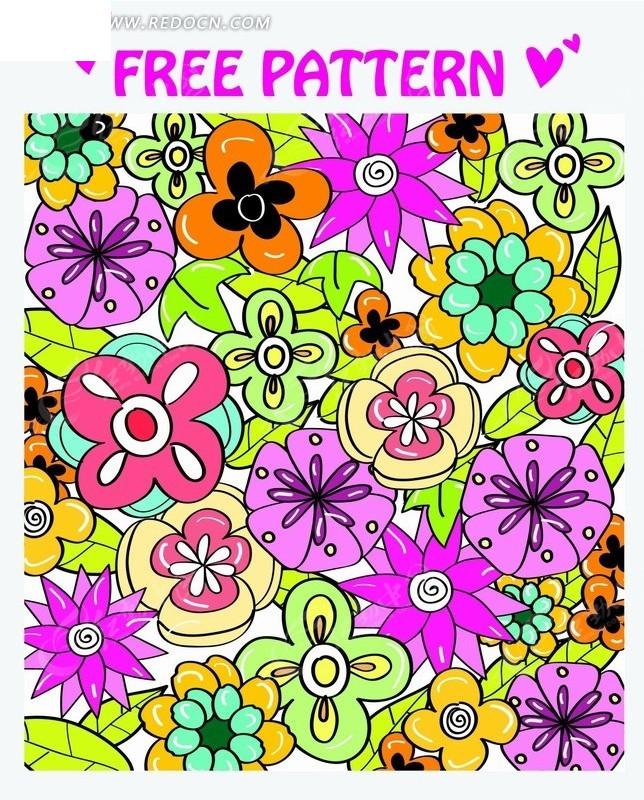 炫彩手绘花朵矢量背景