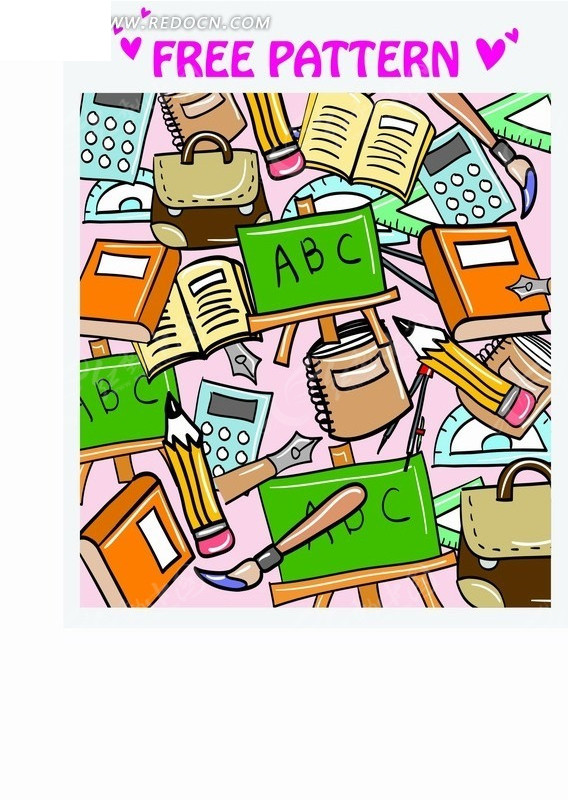 艺术插画背景 彩色卡通的教学书本和工具底图
