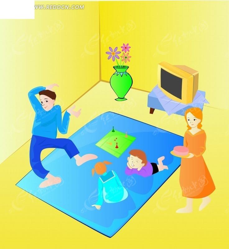卡通人物插画 房间看爸爸跳舞的小男孩小女孩AI素材免费下载 编号1871310 红动网