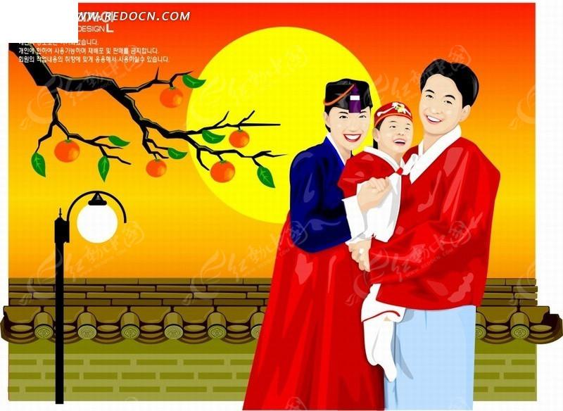 金黄色的太阳前开心幸福的朝鲜族家庭