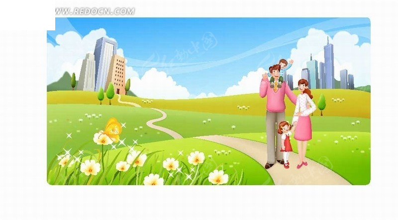卡通人物插画-草地开心散步的一家四口