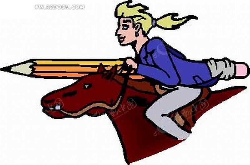 卡通人物插画 骑马拿铅笔的美女矢量图