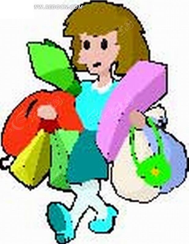 购物 买东西 礼物 女士 人物插画  卡通人物 卡通人物图片 漫画人物