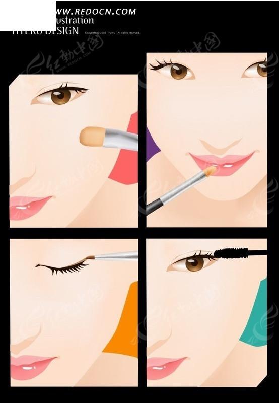 卡通人物插画-涂口红描眉毛的美