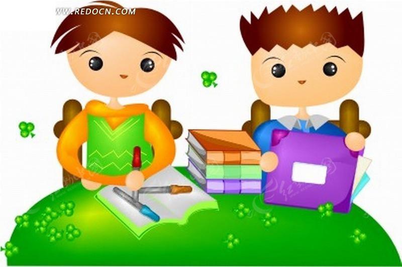 卡通人物插画-写字包装书本的小男孩小女孩