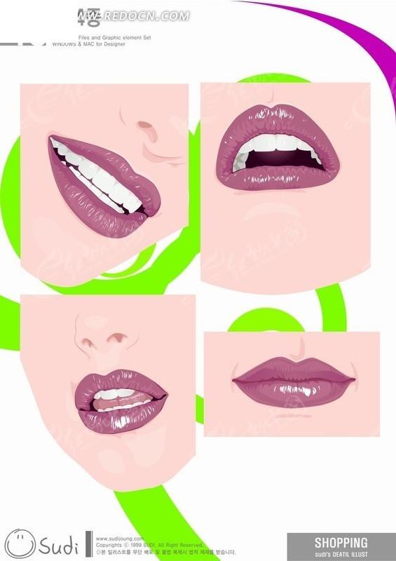 各种唇部动 绿色花纹 张嘴 闭嘴 美女 女人 手绘 插画 卡通 卡通人物