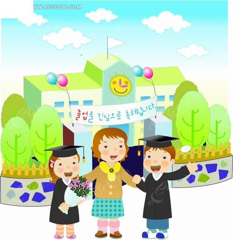 卡通人物插画-手拉手唱歌的老师和学生