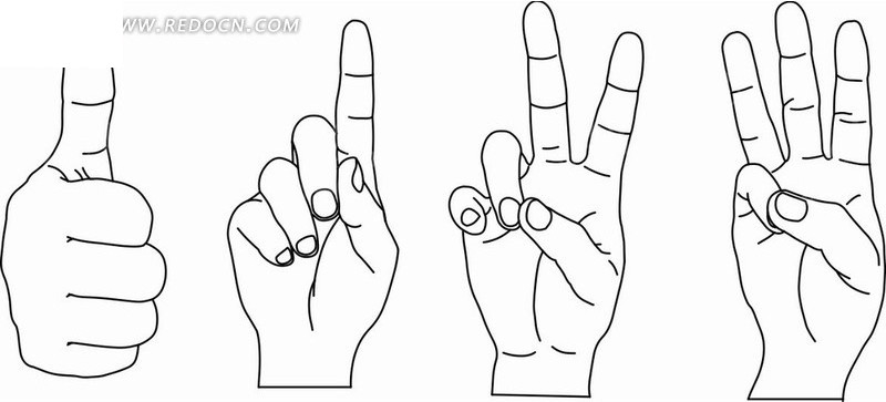 手绘插画 一 二 三  手势