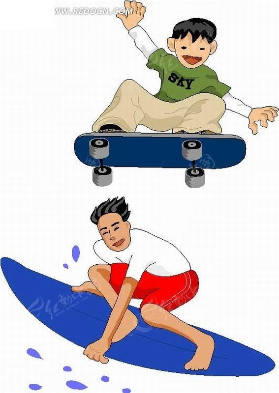 手绘插画滑浪板和滚轮滑板的运动男孩矢量图
