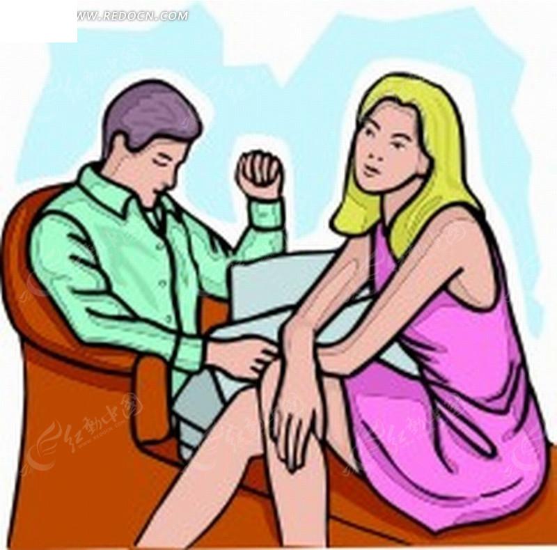 手绘 坐在沙发 男性 金发女性 阅读 家庭男女 男女关系 插图 卡通人物