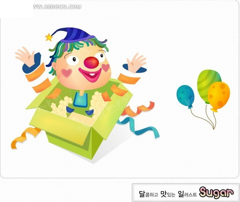 卡通人物-礼盒内的小丑和气球