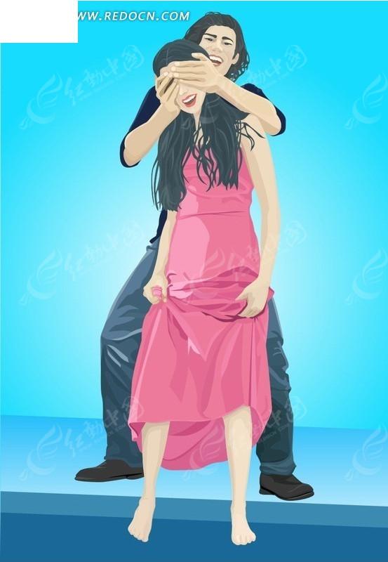 人物插画海边求婚的大头卡通男女_卡通形象_红动手机版