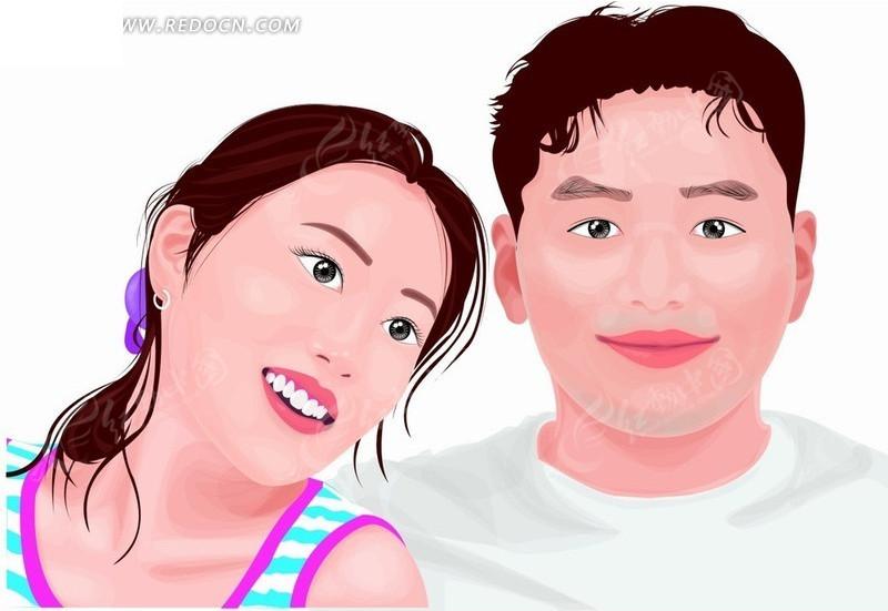 微笑 男人女人 帅哥美女 手绘 插画 漫画 漫画人物 卡通 卡通人物
