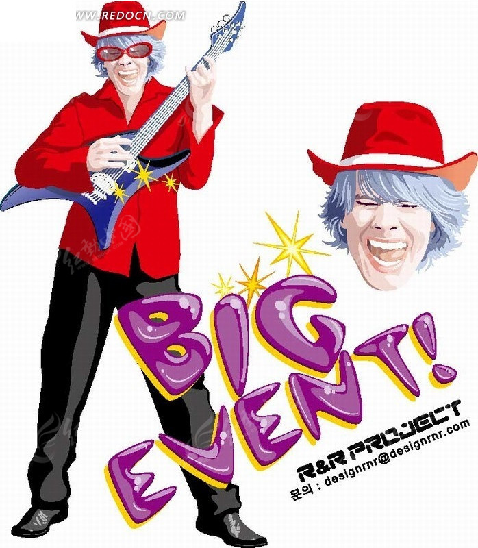 卡通人物 弹吉他的红衣男士ai免费下载_卡通形象素材