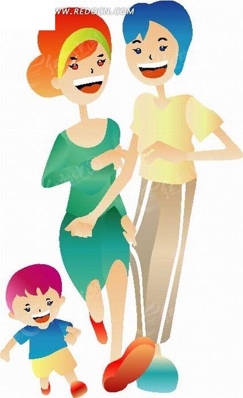矢量素材 矢量人物 卡通形象 卡通人物插画-开心跑步的一家三口