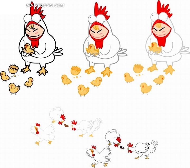 卡通人物 鸡妈妈和刚出壳的小鸡
