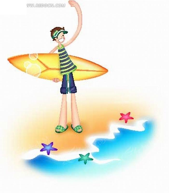 男孩 海滩 海星 滑水板 运动 卡通人物  卡通人物图片 漫画人物 人物