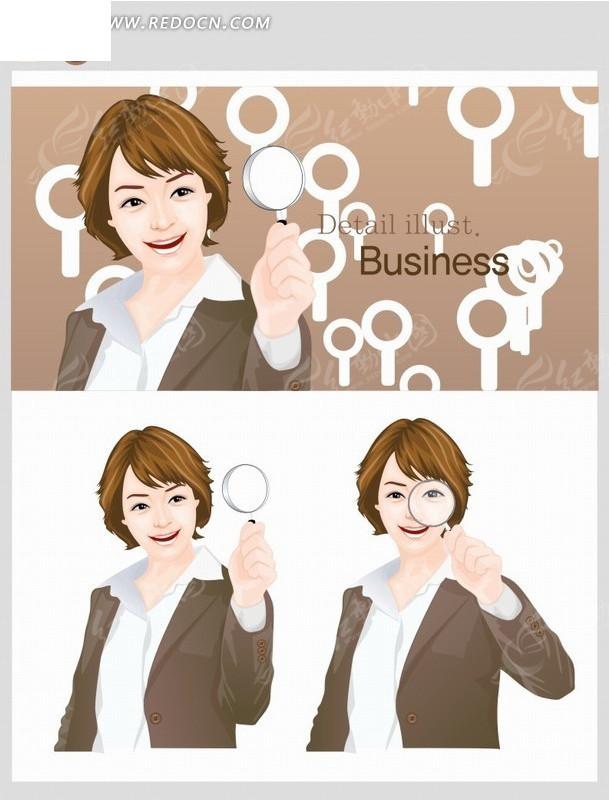 卡通人物插画拿着放大镜的短发职业美女