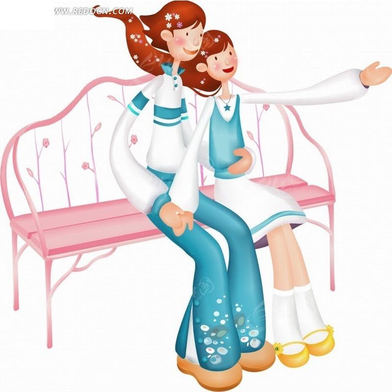 坐在卡通女孩结拜粉红长椅搂在一起的人物称号男孩手绘女生图片
