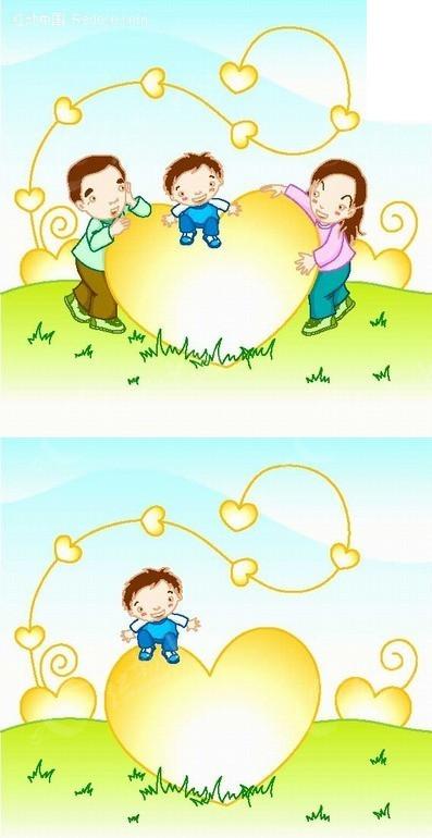 手绘卡通人物 父母 呵护 爱心 玩耍 小男孩 孩子 成长 藤蔓 蓝天 儿童