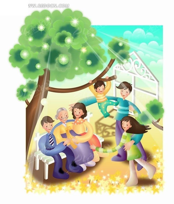 手绘卡通人物蓝天大树下快乐的四代同堂