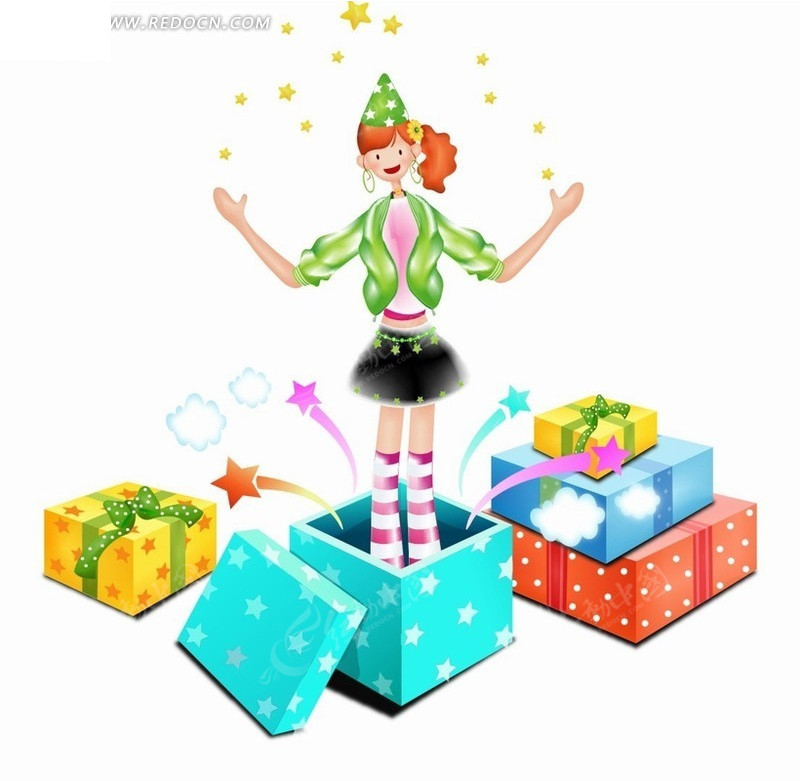 手绘卡通人物礼物盒里站着表演星光魔法的女孩矢量图