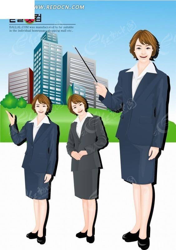 手绘卡通人物各种招待姿势的职业女性
